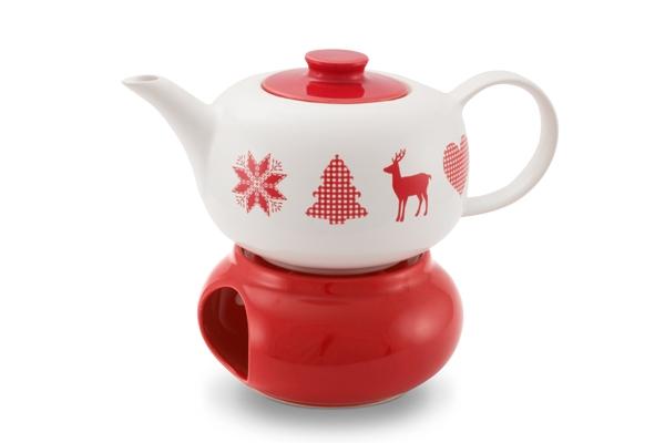 Winterzauber Weihnachtliche Teekanne mit Stövchen Friesland Porzellan Ceracron