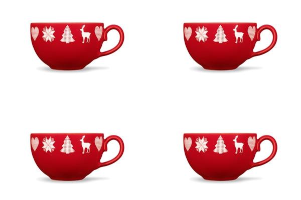 Viererset Winterzauber Rot Tasse