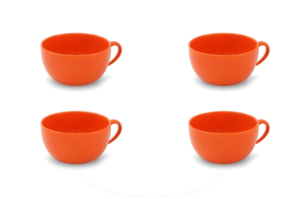 4er-Set Jumbo-Obertasse 0,56l Happymix Orange