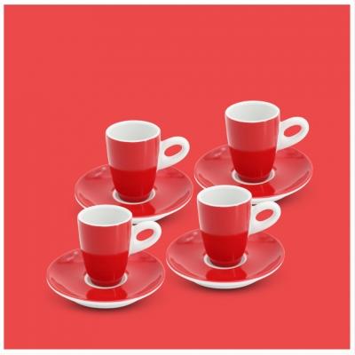 Espresso-Set 8tlg. Alta Feuerrot Walküre Porzellan