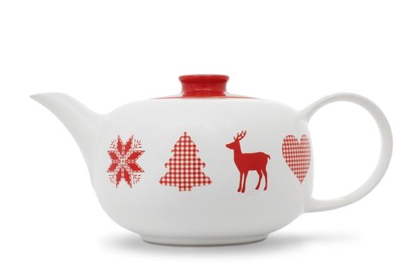 Teekanne Happymix Winterzauber mit Adventsmotiv Weiss Rot von Friesland