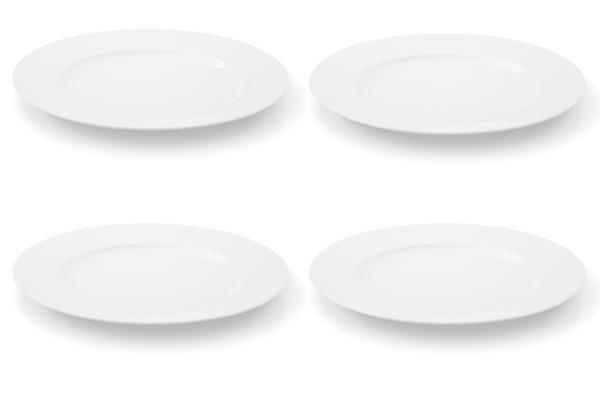 Viererset Speiseteller La belle Weiß Friesland Porzellan