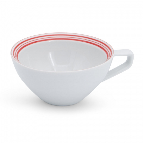 Milchkaffeetasse, 0,25l Rossi Linien-Mix Rot