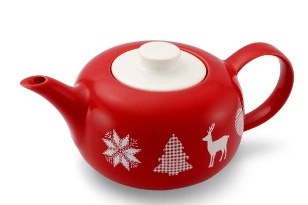 Teekanne Happymix Winterzauber mit Adventsmotiv Rot Weiss von Friesland