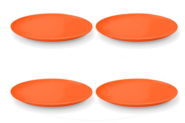 4er-Set Speiseteller Happymix Orange