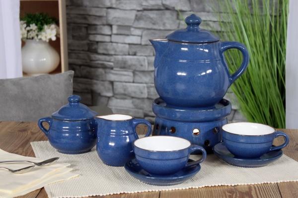 Teeservice Ammerland Blue Steingut Ceracron von Friesland Porzellan Blau mit Stövchen
