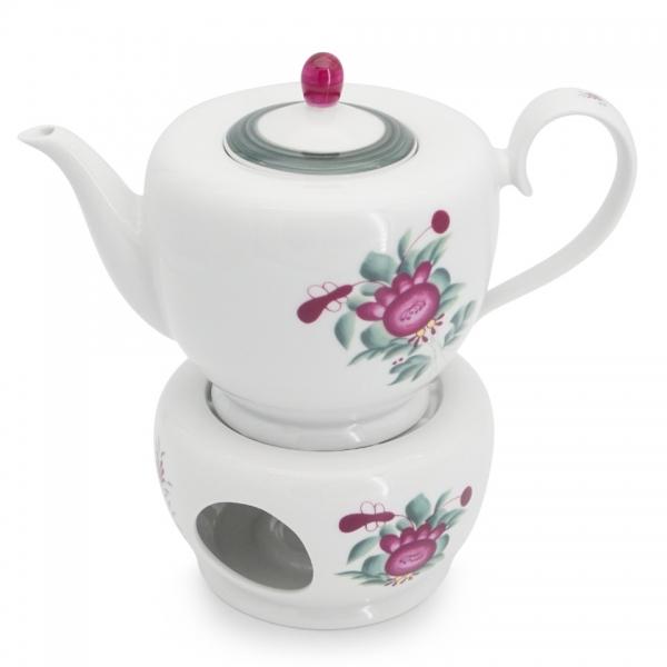 Teekanne / Stövchen Set Atlantis Ostfriesische Rose Friesland Porzellan