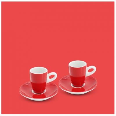 Espresso-Set 4tlg. Alta Feuerrot Walküre Porzellan