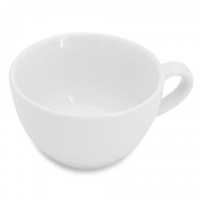 Milchkaffeetasse mit glattem Henkel 0,25l Classic Weiß Walküre Porzellan