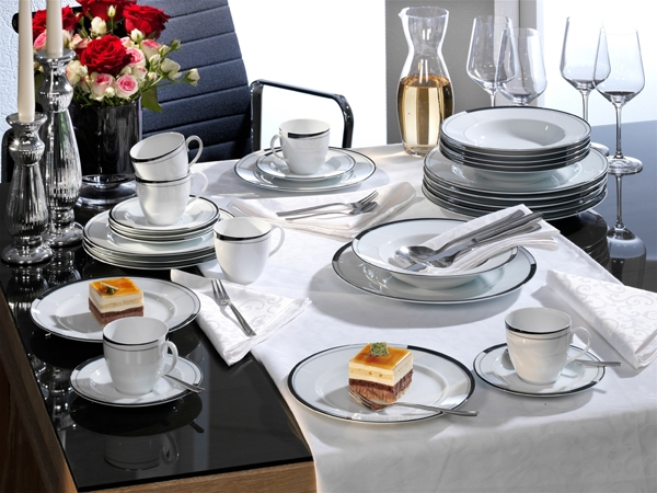 Kombi Service La Belle Black & White Friesland Porzellan
