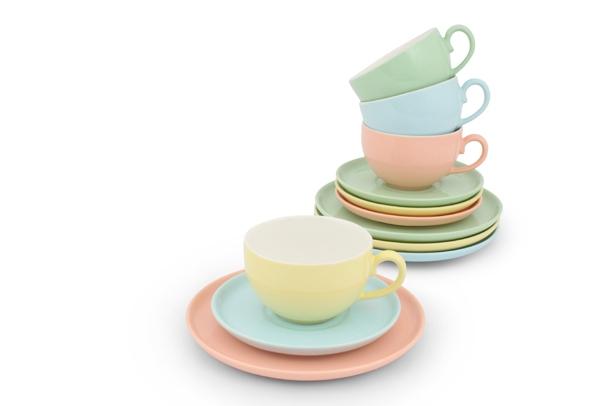 Kaffee-/ Tee- Set 12tlg. Trendmix Pastell Bunt