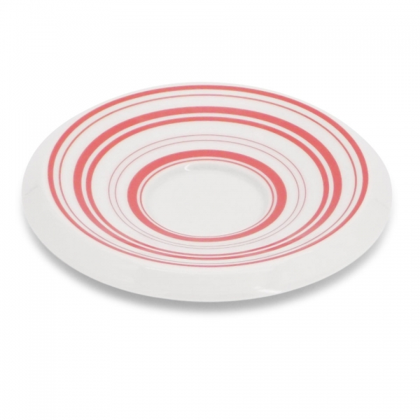 Espresso Untertasse, 12,5cm Rossi Linien-Mix Rot
