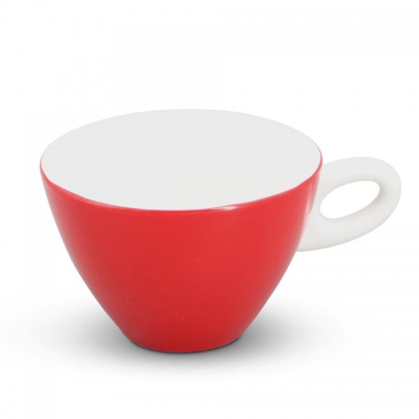 Milchkaffeetasse, 0,25l Alta Feuerrot Henkel Weiß