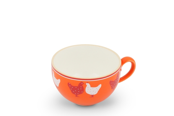 Kaffeetasse Landpartie Hühner Orange Trendmix Friesland