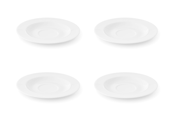 Viererset Untertassen La belle Weiß Friesland Porzellan