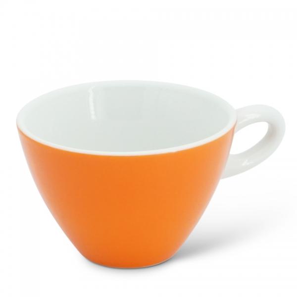 Milchkaffeetasse, 0,25l Alta Leuchtorange Henkel Weiß