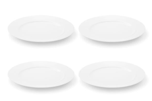 Viererset Frühstücksteller La belle Weiß Friesland Porzellan