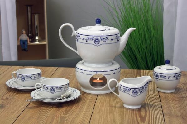Teeservice Atlantis Friesisch Blau Friesland Porzellan mit Stövchen