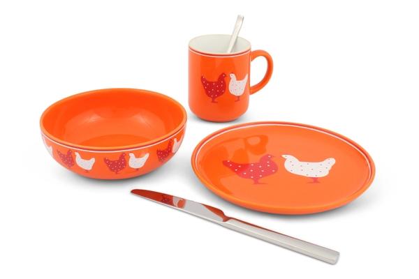 Landpartie Frühstücksset Hühner Happymix Orange von Frieslan