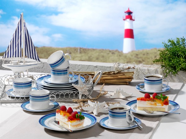 Jeverland Strand-Linien Kaffee-Service Friesland Porzellan
