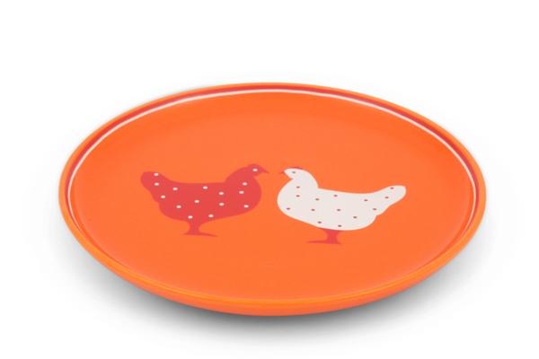 Frühstücksteller Landpartie Hühner Orange Trendmix Friesland