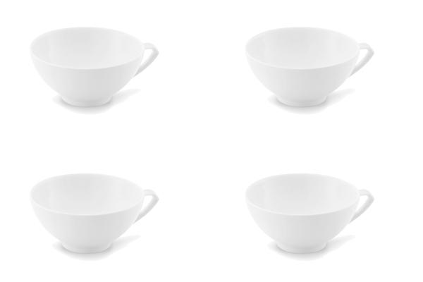Viererset Teetassen Ecco Weiß Friesland Porzellan