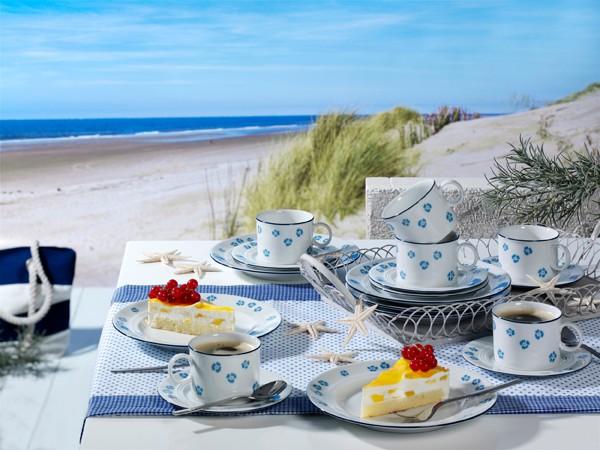 Kaffee-Geschirr Set Jeverland Strand Blüten Friesland Porzellan