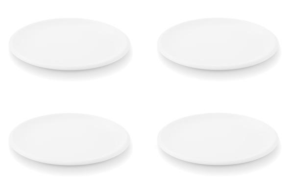 Viererset Frühstücksteller Ecco Weiß Friesland Porzellan