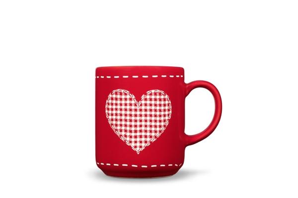 4er-Set Becher Herz Happymix Weihnachten Rot