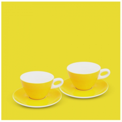 Milchkaffee-Set 4tlg. Alta Gelb Walküre Porzellan