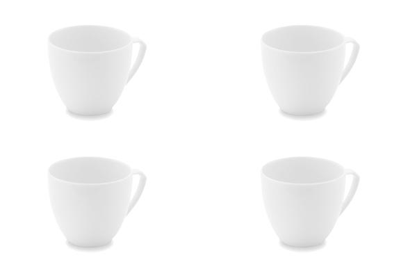 Viererset Kaffeetassen Ecco Weiß Friesland Porzellan