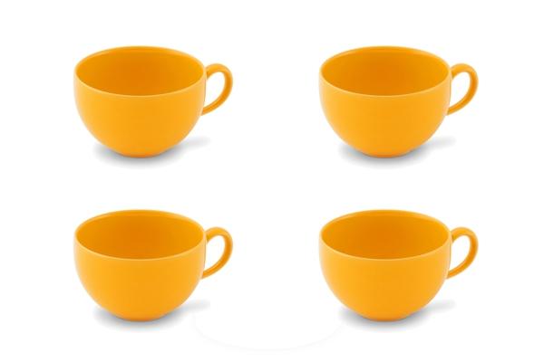 4er-Set Kaffee-Obertasse 0,24l Happymix Safrangelb