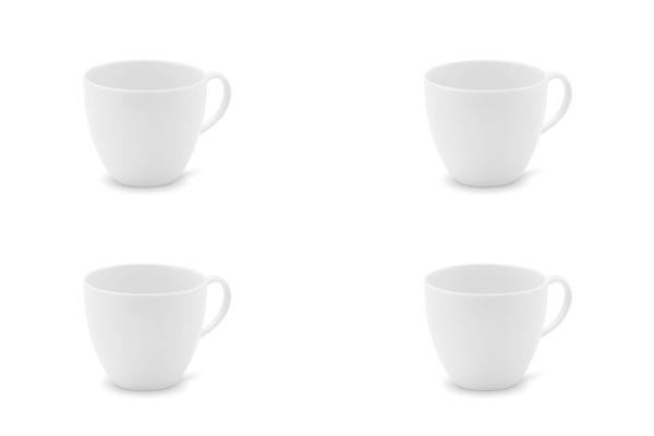 Viererset Kaffeetassen La belle Weiß Friesland Porzellan